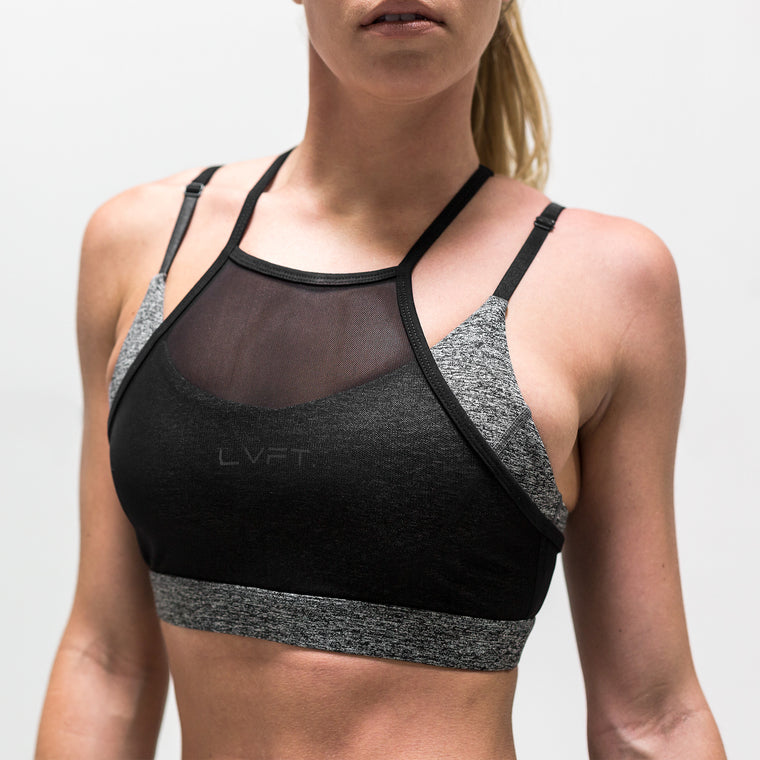 Mesh Overlay Sports Bra- Grey/Black