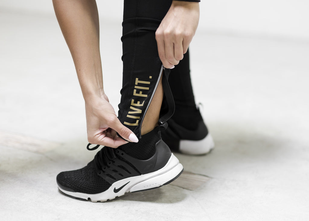 Elite Tech Leggings- Black/Gold