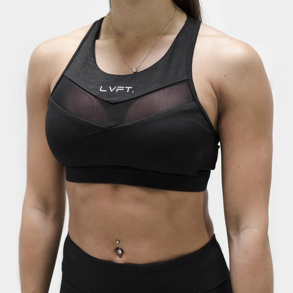 Elite Tech Sports Bra- Black/Silver