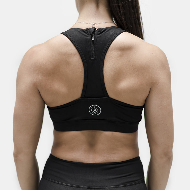 Live Fit Apparel Elite Tech Sports Bra- Black/Silver - LVFT