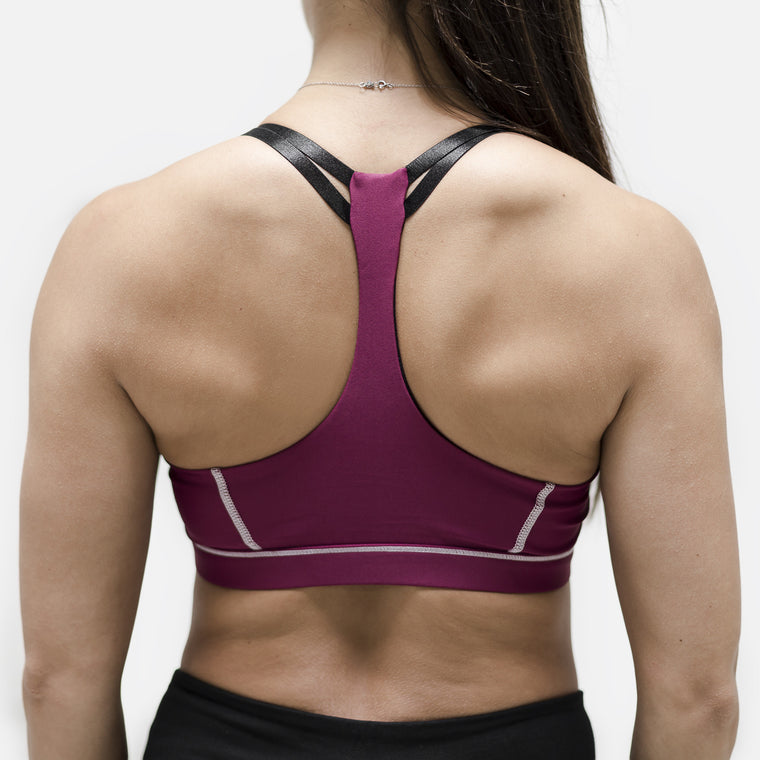 Live Fit Apparel Interlaced Sports Bra- Burgundy - LVFT