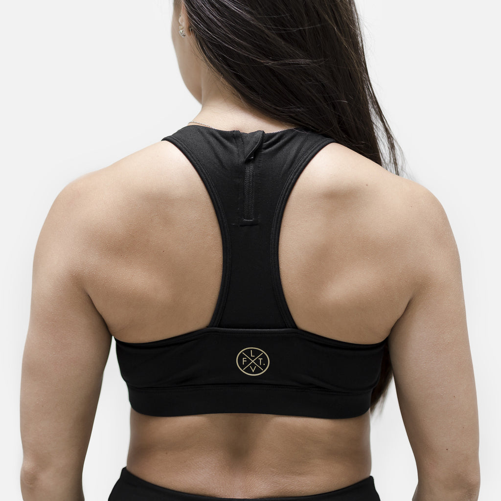 Elite Tech Sports Bra- Black/Gold
