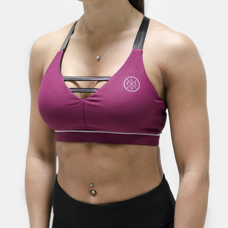 Interlaced Sports Bra- Burgundy