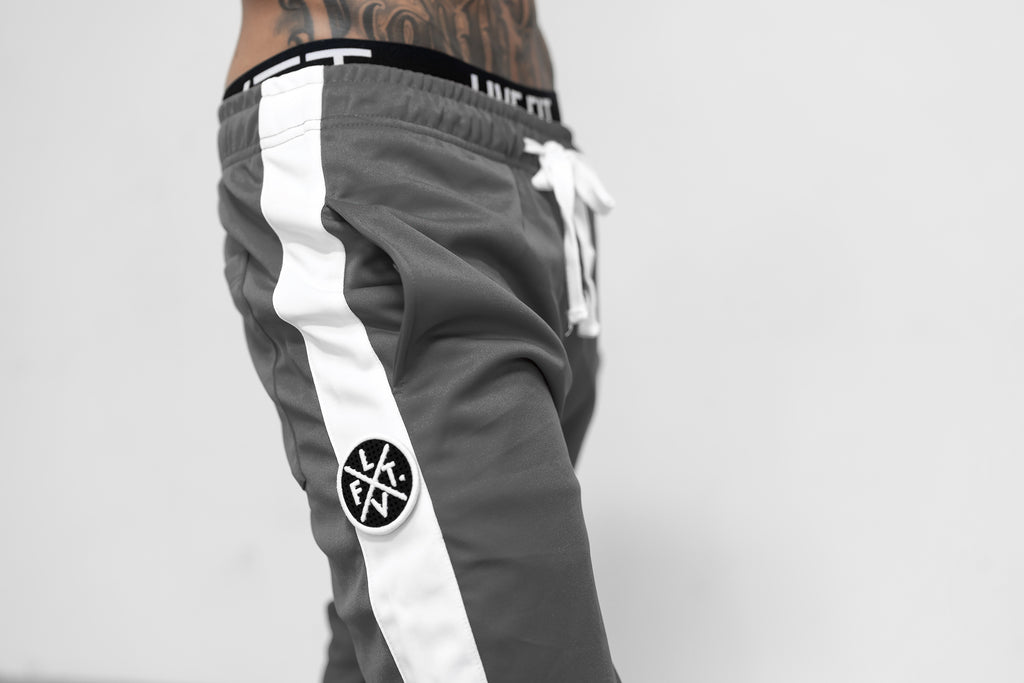Live Fit Apparel LVFT. Slim Trackies - Grey/White  - LVFT