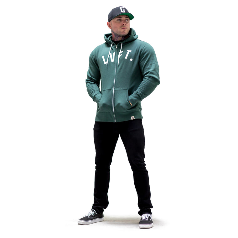 University Zip Up - Forest Green / White