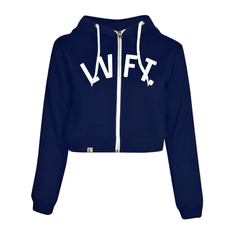 University Crop Zip Hoodie - Navy / White