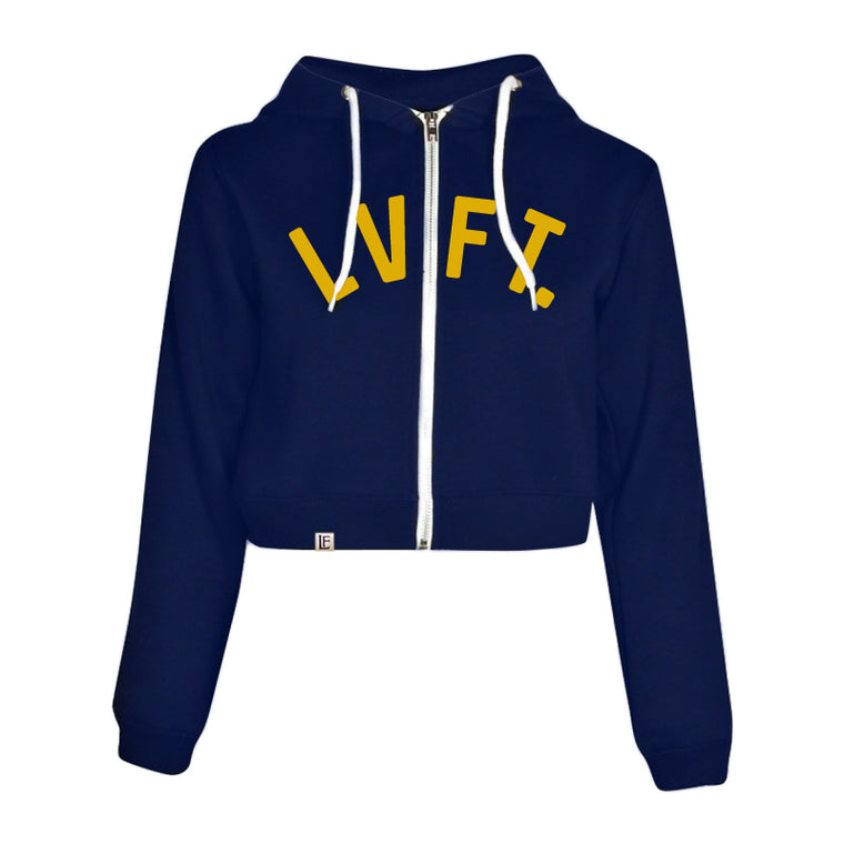 University Crop Zip Hoodie - Navy / Yellow