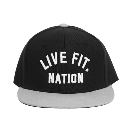 Live Fit. Nation Snapback- Black/Grey/White