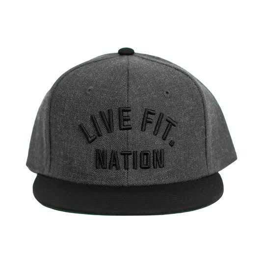 Live Fit. Nation Snapback- Charcoal/Black