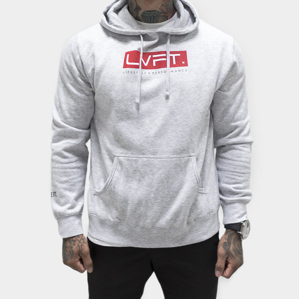 Bar Hoodie- Heather Grey/Red