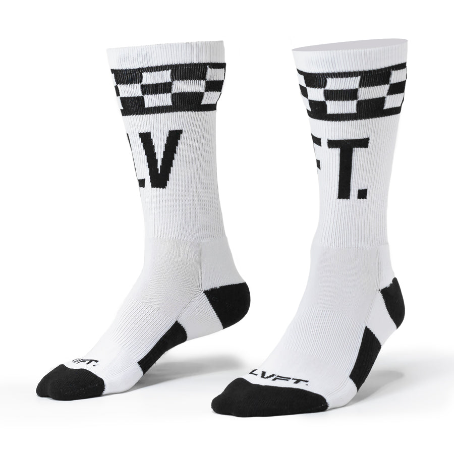 Checker Socks - White/black