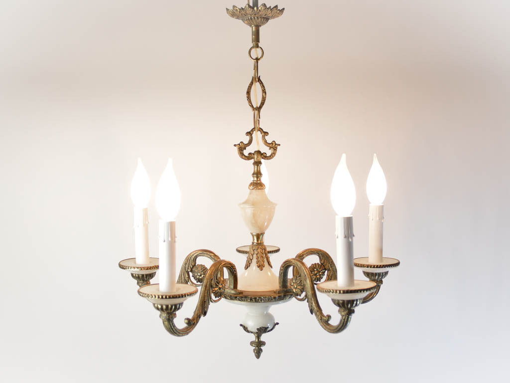 Vintage Spanish White Marble And Bronze 5 Arm Chandelier