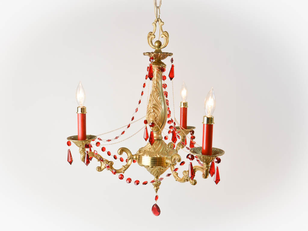 Vintage bronze 3 arm chandelier with red crystals french vintage bronze 3 arm chandelier with red crystals french aloadofball Choice Image