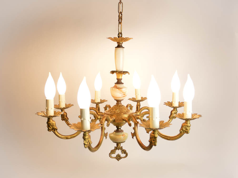 Large Vintage French Bronze 8 Arm Chandelier Onyx Stone Shaft – Onyx Chandelier