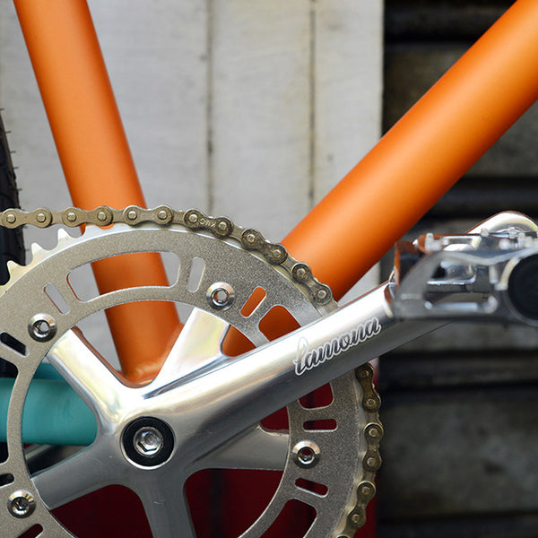 crank set chronos aix orange fixie fixed bike lamona