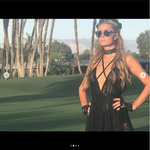 Paris Hilton in custom black and white Headband by JAREDJAMIN jewelry in Coachella 2017