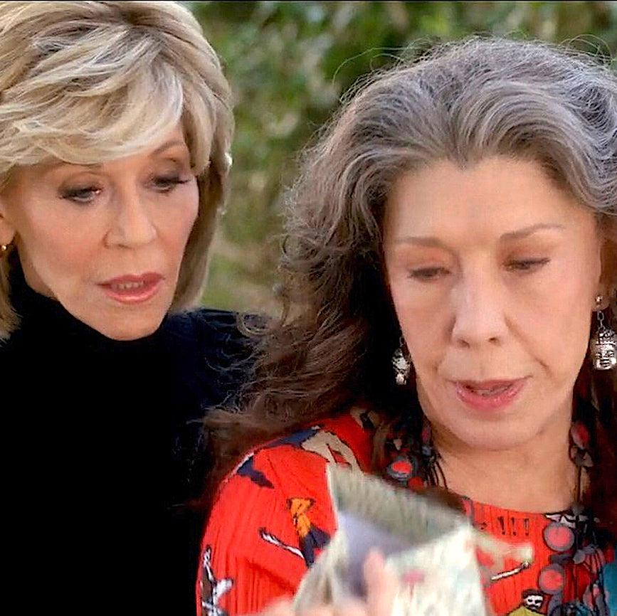 lily tomlin jane fonda graceandfrankie agate buddah silver earrings