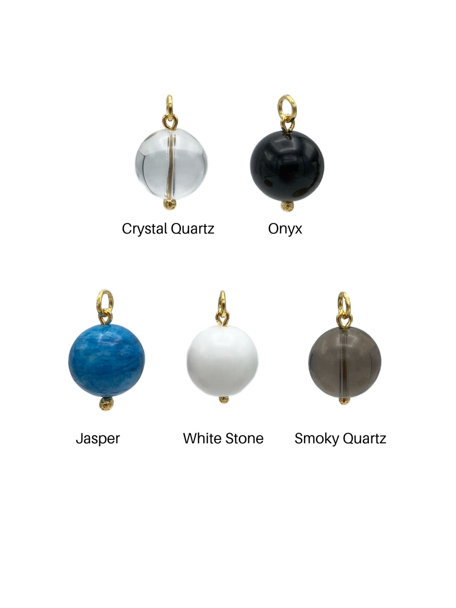 16MM Smooth Ball Earring Pendant Charms-Pendant Charms-Jared Jamin Online-Crystal Quartz Ball Charm-JARED JAMIN