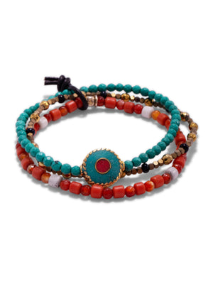 Aqua Evil Eye Bracelet Set-Bracelets-JAREDJAMIN Jewelry Online-JAREDJAMIN - Fashion Jewelry & Accessories