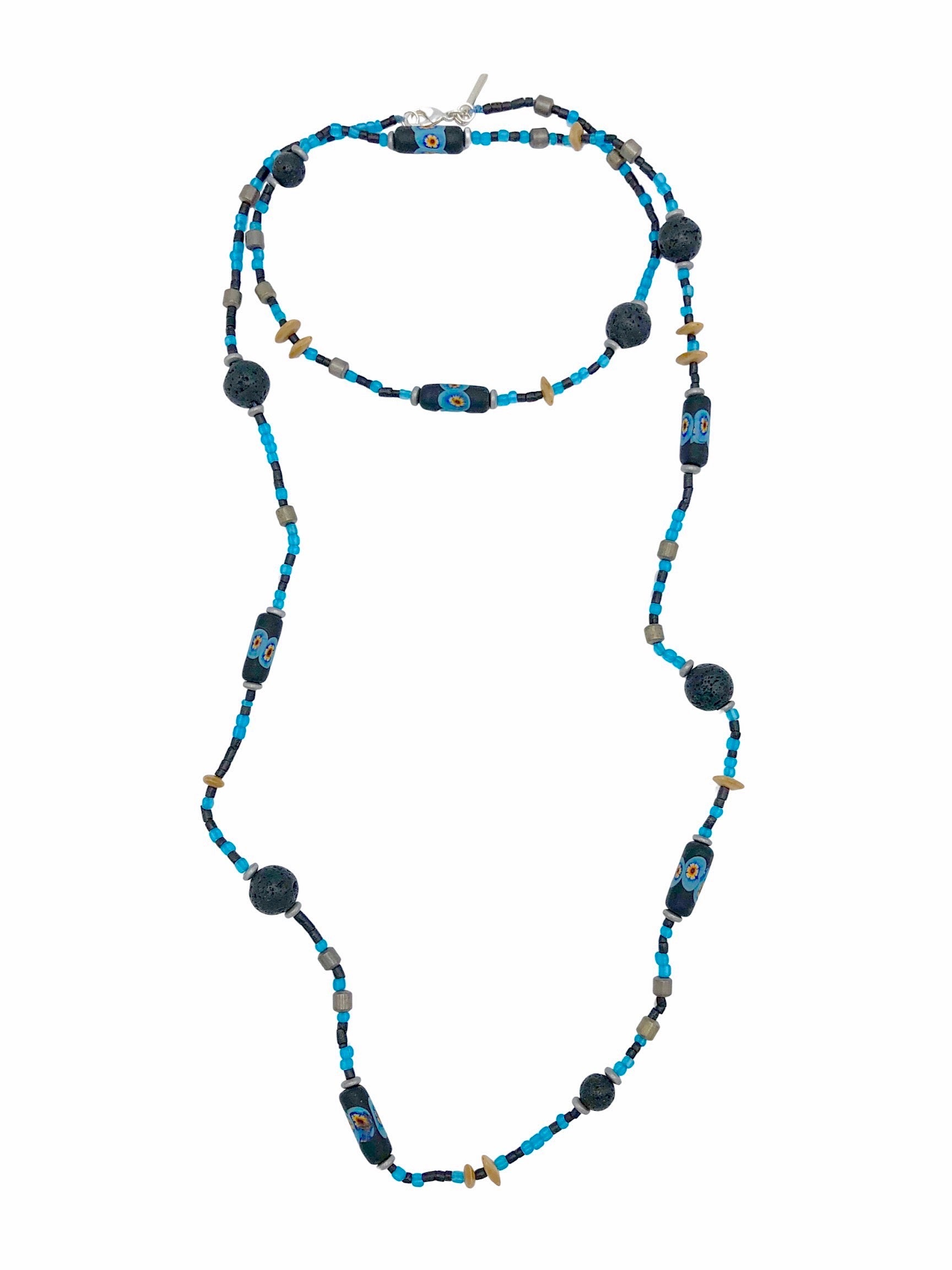 African Voyage Long Lava Necklace-Necklaces-JAREDJAMIN Jewelry Online-Blue-JAREDJAMIN - Fashion Jewelry & Accessories