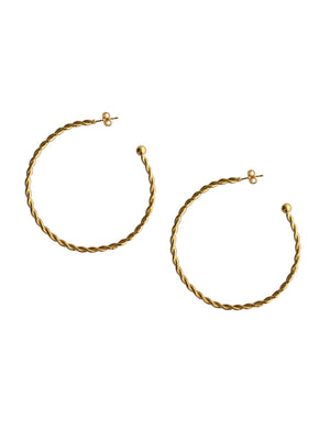 Bernini Twist Medium Gold Hoop Earrings