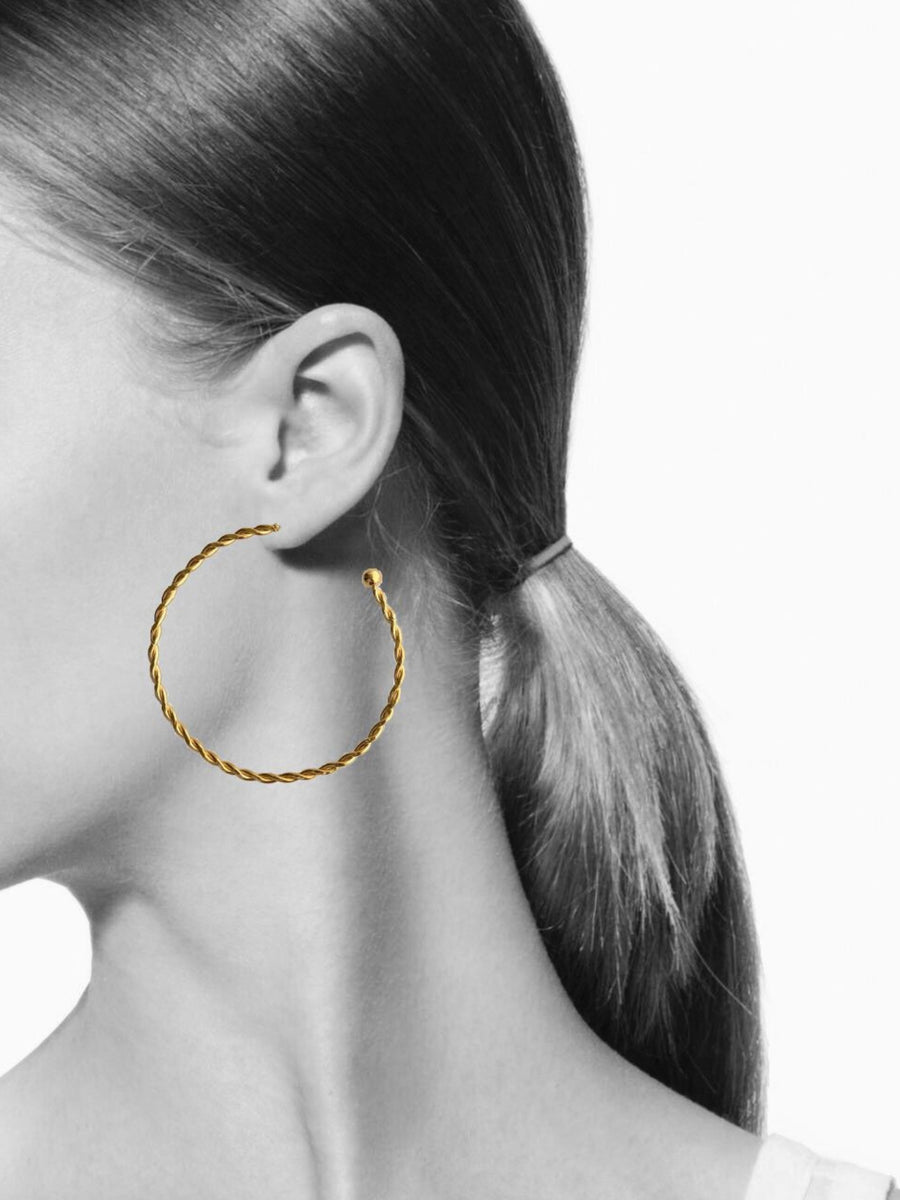 Bernini Twist Medium Gold Hoop Earrings-Earrings-Jared Jamin Online-JARED JAMIN