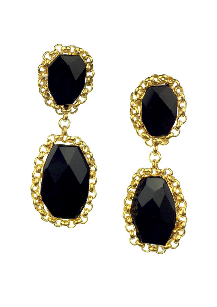 Golden Licorice Clip Earrings-Earrings-Jared Jamin Online-Black-JARED JAMIN