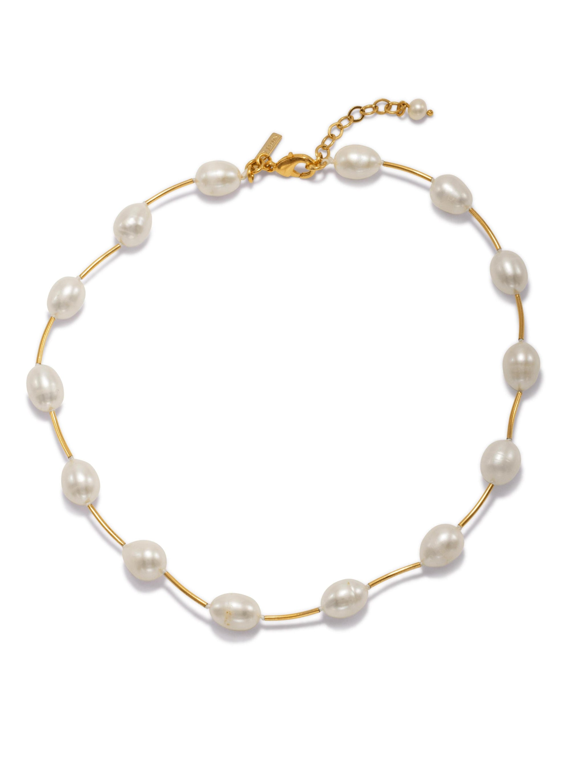 Claire Pearl and Gold Necklace-Necklaces-JAREDJAMIN Jewelry Online-JAREDJAMIN - Fashion Jewelry & Accessories