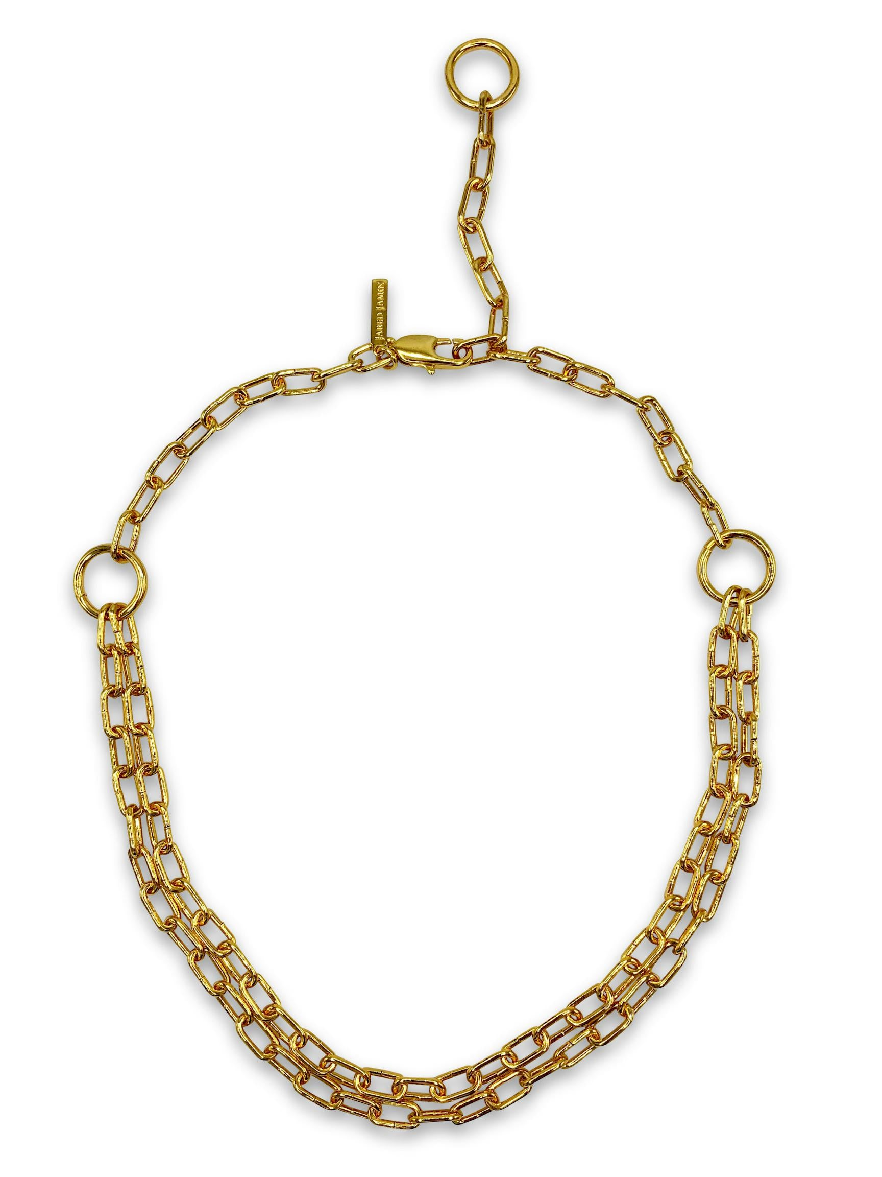 Double Gold Chain Reaction Necklace-Necklaces-JAREDJAMIN Jewelry Online-Gold-JARED JAMIN