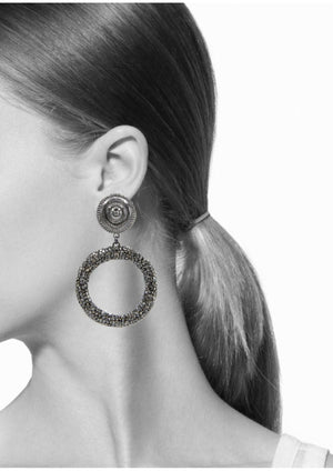 Dolly Pavé Clip Earrings-Earrings-Jared Jamin Online-Gunmetal-JARED JAMIN
