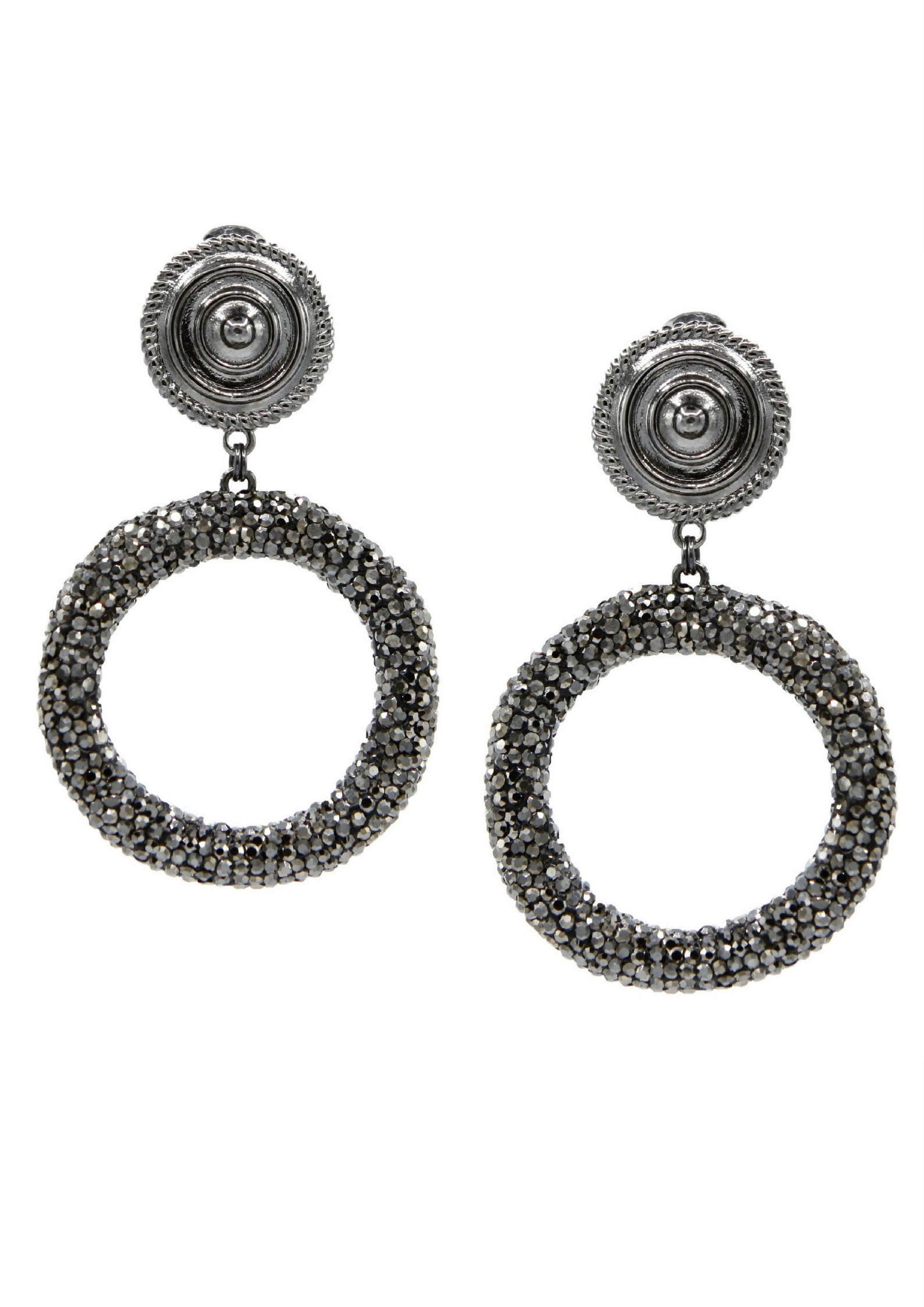 Dolly Pavé Clip Earrings-Earrings-JAREDJAMIN Jewelry Online-Gunmetal-JARED JAMIN