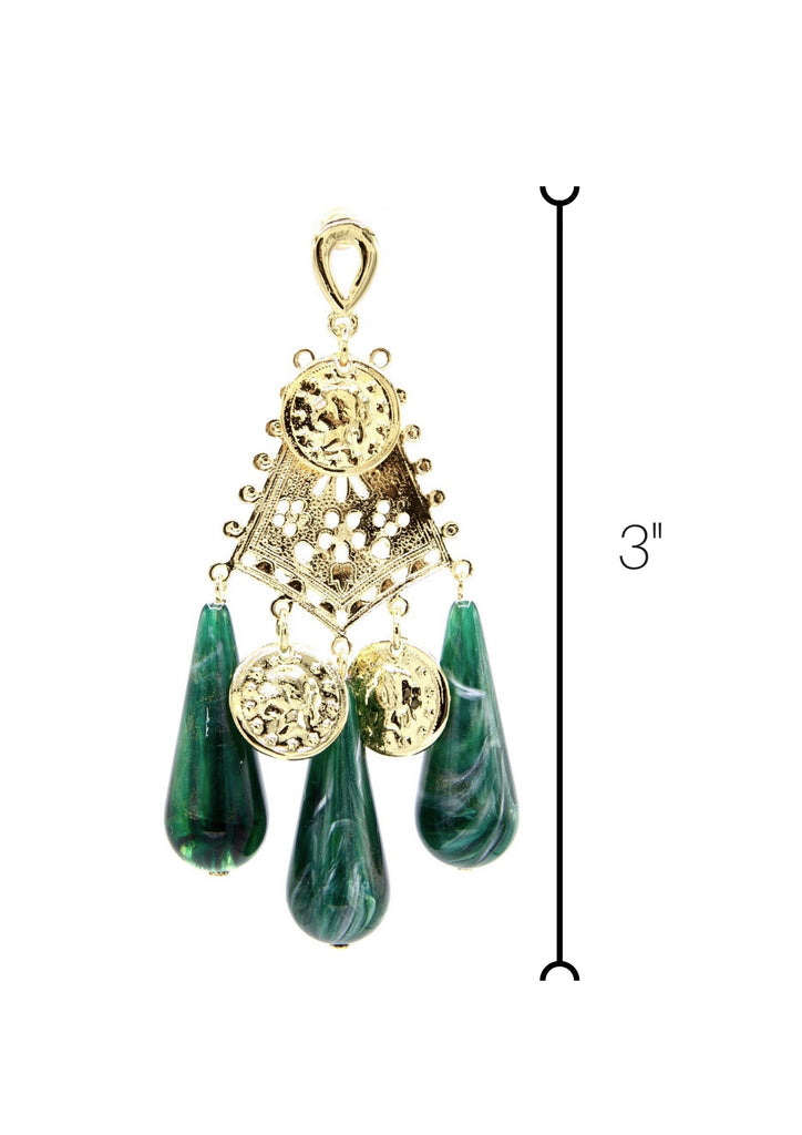Dravidian Temple Earrings-Earrings-Jared Jamin Online-Green/Gold-JARED JAMIN
