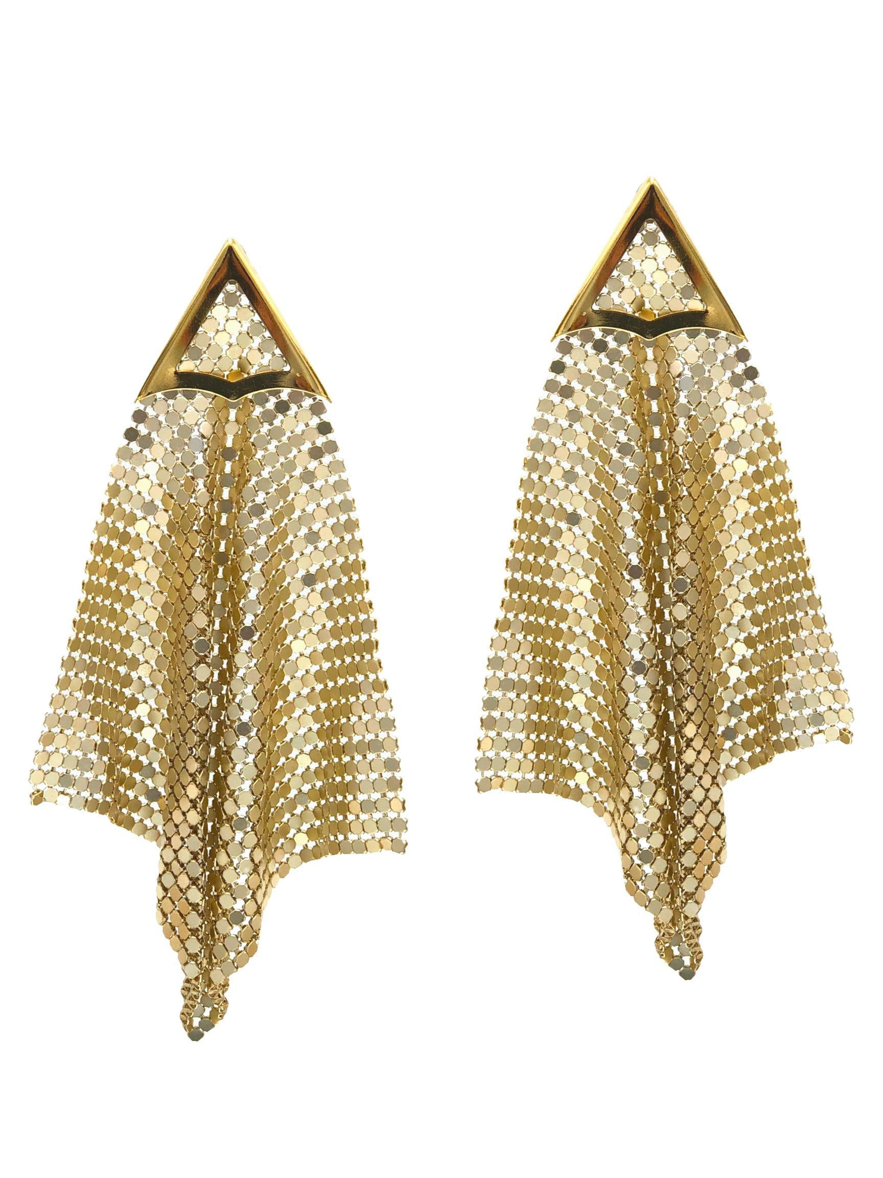Fazzoletto Chainmail Gold Earrings-Earrings-JAREDJAMIN Jewelry Online-JAREDJAMIN - Fashion Jewelry & Accessories