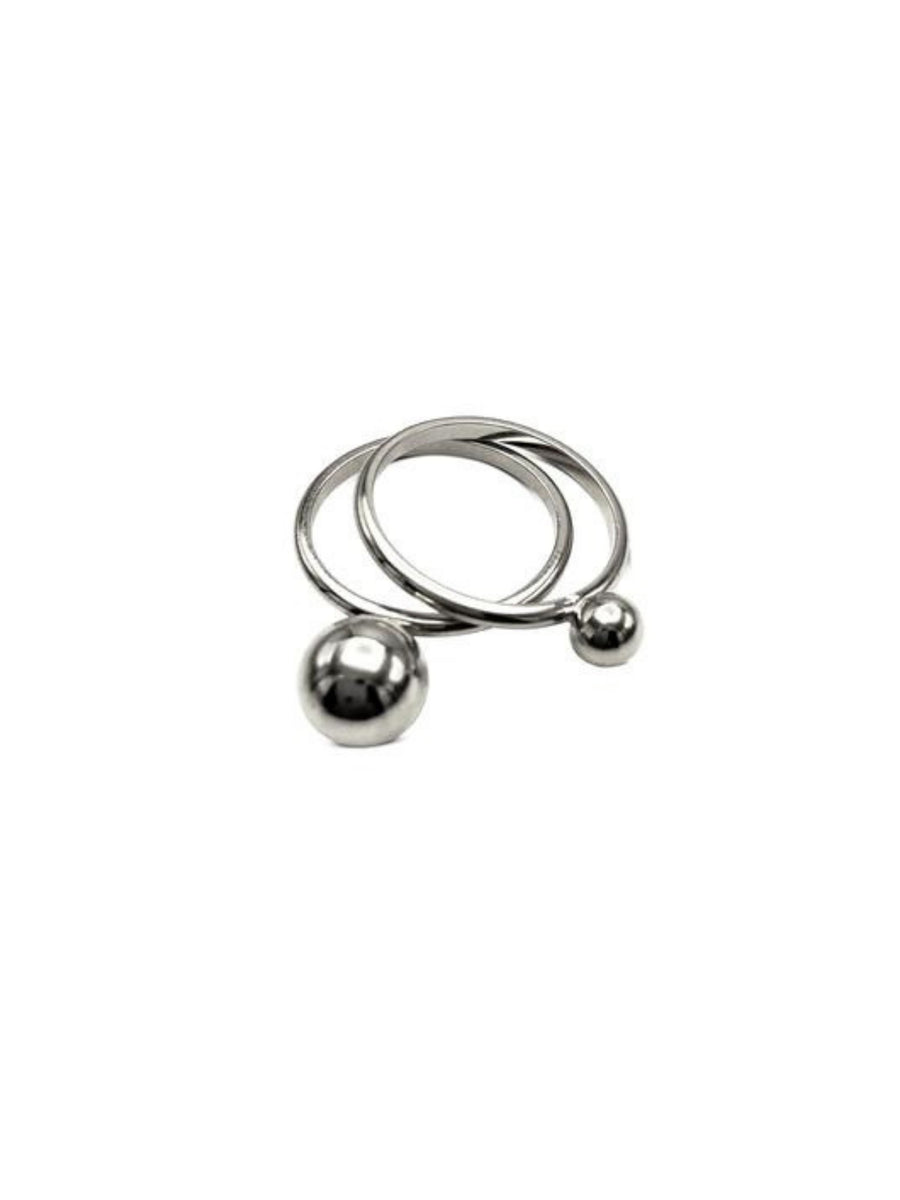 Small Orbita Double Silver Ring Stack-Womens rings-Jared Jamin Online-5-JARED JAMIN