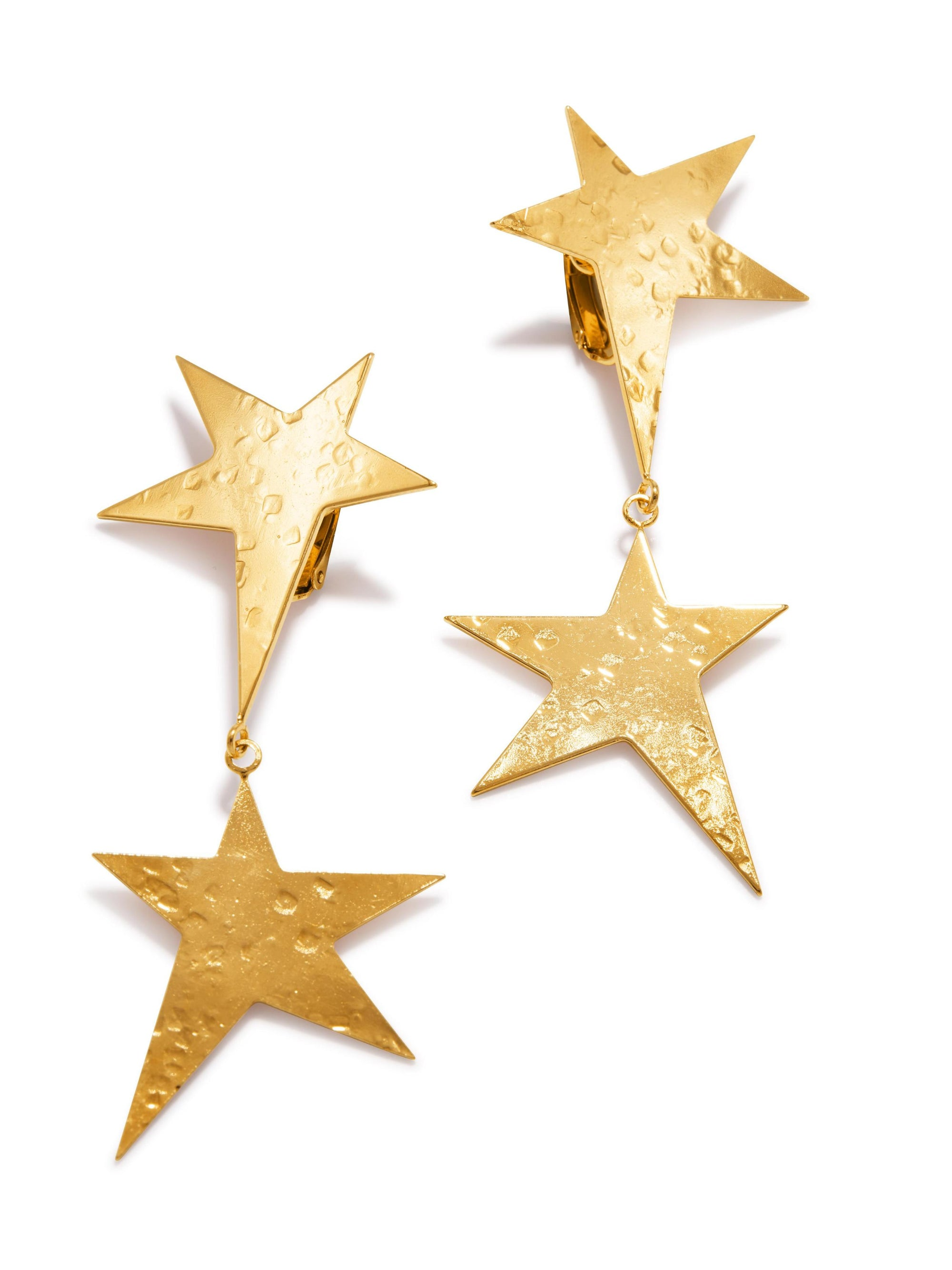Gold Shooting Star Dangle Clip Earrings-Earrings-JAREDJAMIN Jewelry Online-JAREDJAMIN - Fashion Jewelry & Accessories