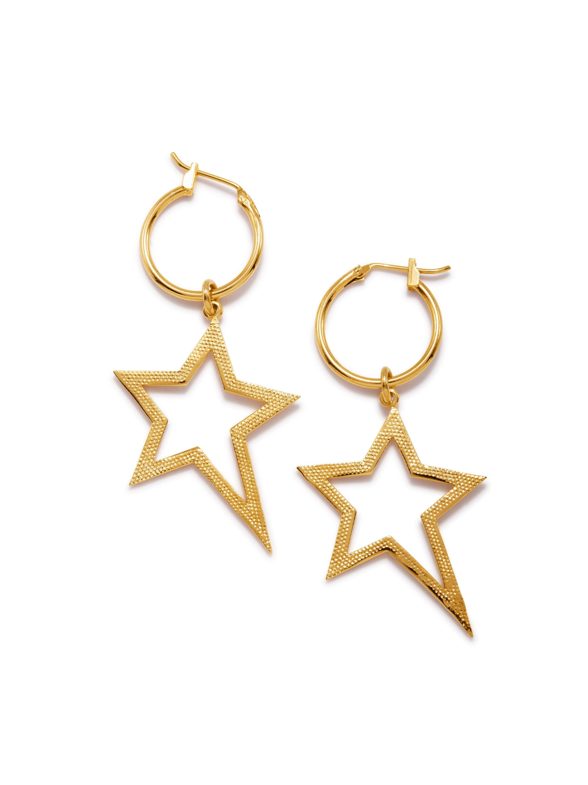 Gold Shooting Star Dust Hoop Earrings-Earrings-JAREDJAMIN Jewelry Online-JAREDJAMIN - Fashion Jewelry & Accessories