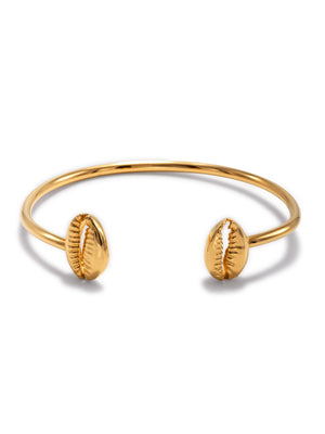 Gold Cowrie Shell Cuff Bracelet-Bracelets-JAREDJAMIN Jewelry Online-JAREDJAMIN - Fashion Jewelry & Accessories