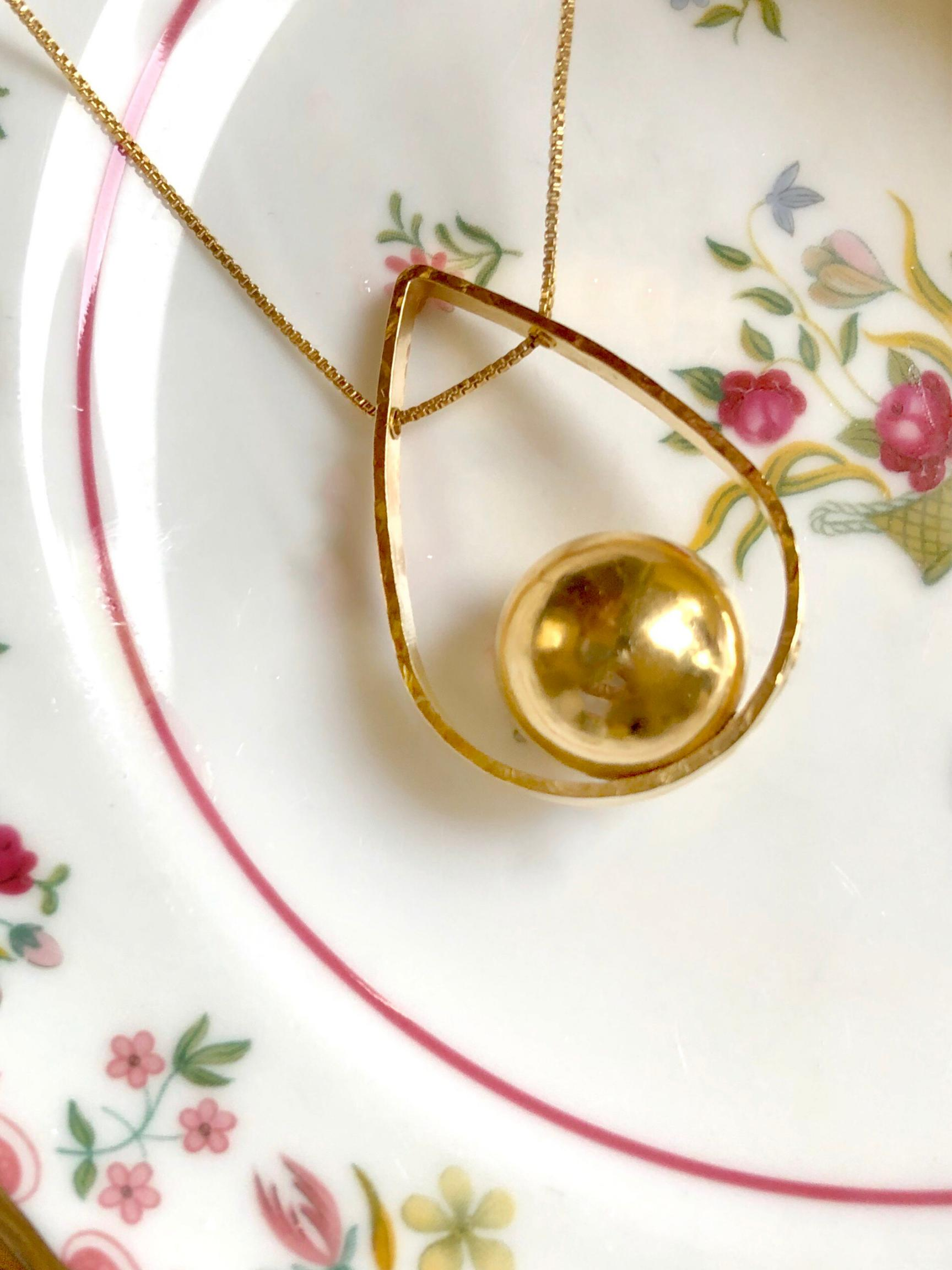 Orbita Swing Gold Pendant Necklace-Necklaces-JAREDJAMIN Jewelry Online-JARED JAMIN
