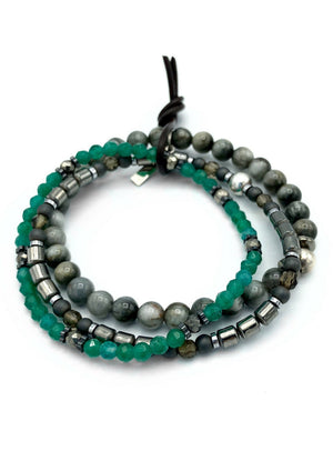 Green Gully Bracelet Set-Bracelets-Jared Jamin Online-JARED JAMIN