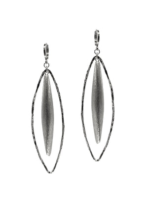 Zeppelin Hailey White Rhodium Leverback Earrings-Earrings-JAREDJAMIN Jewelry Online-JARED JAMIN