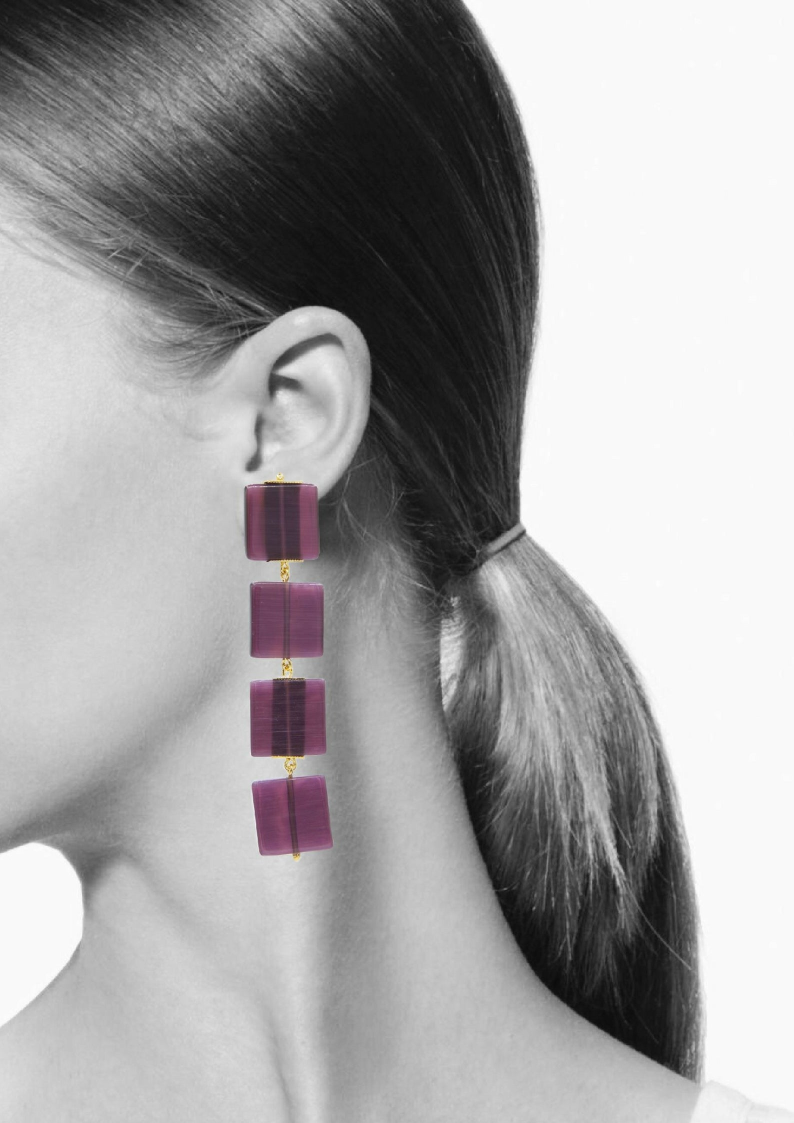 Hollywood Squares Earrings-Earrings-Jared Jamin Online-Purple-JARED JAMIN