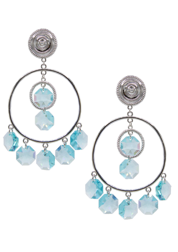 Starshine Chandelier Clip Earrings-Earrings-Jared Jamin Online-Silver / Light Turquoise-JARED JAMIN