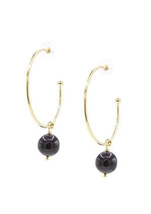 Hooptastic Onyx Drop Gold Hoop Earrings-Earrings-Jared Jamin Online-JARED JAMIN