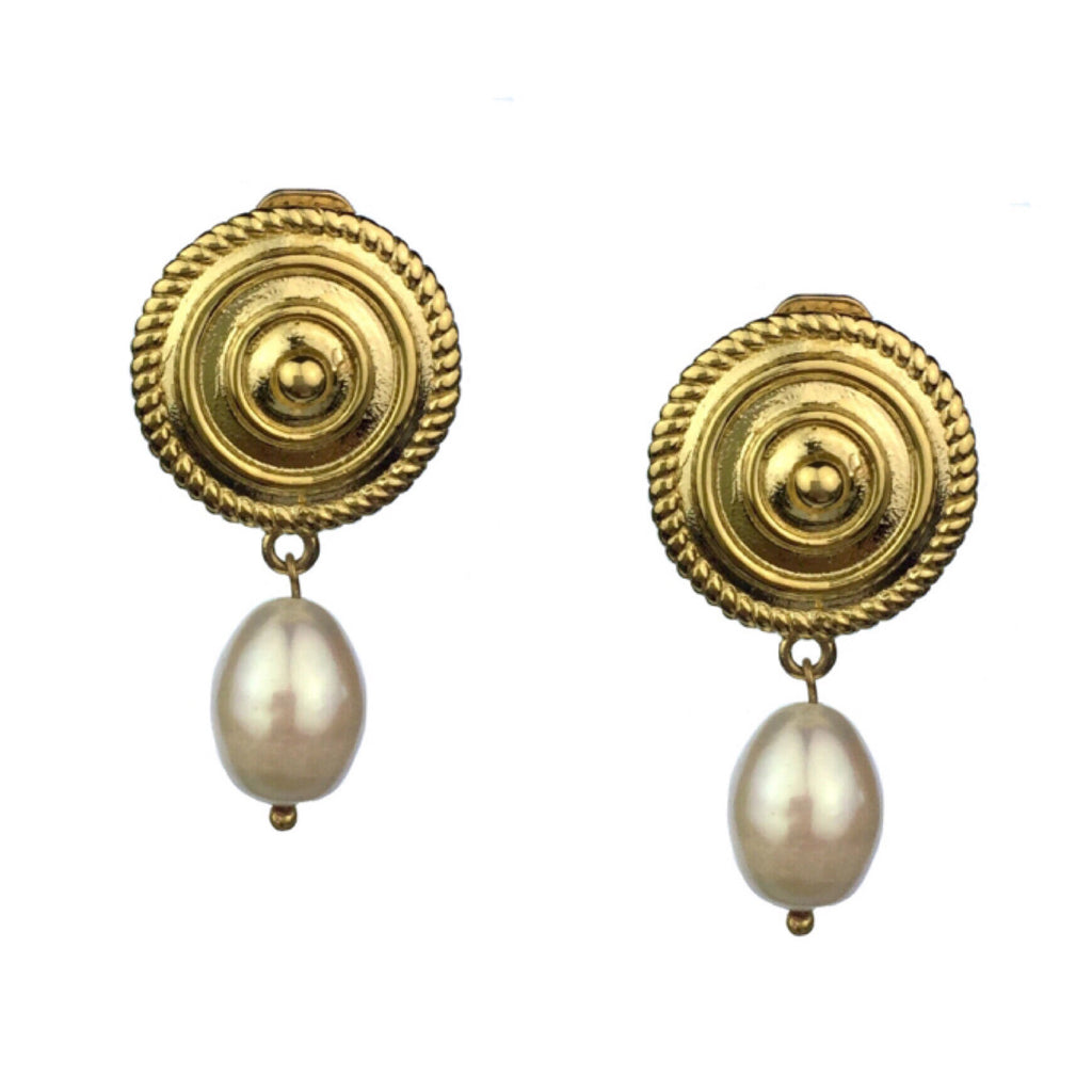 Minerva Gold Shield Pearl Drop Clip Earrings