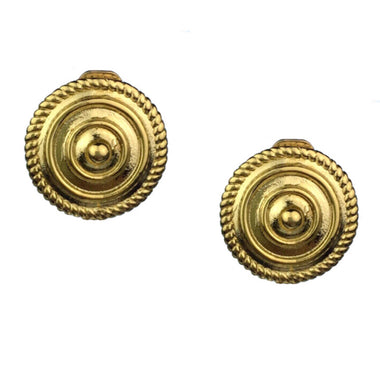 Minerva Gold Shield Clip Earrings