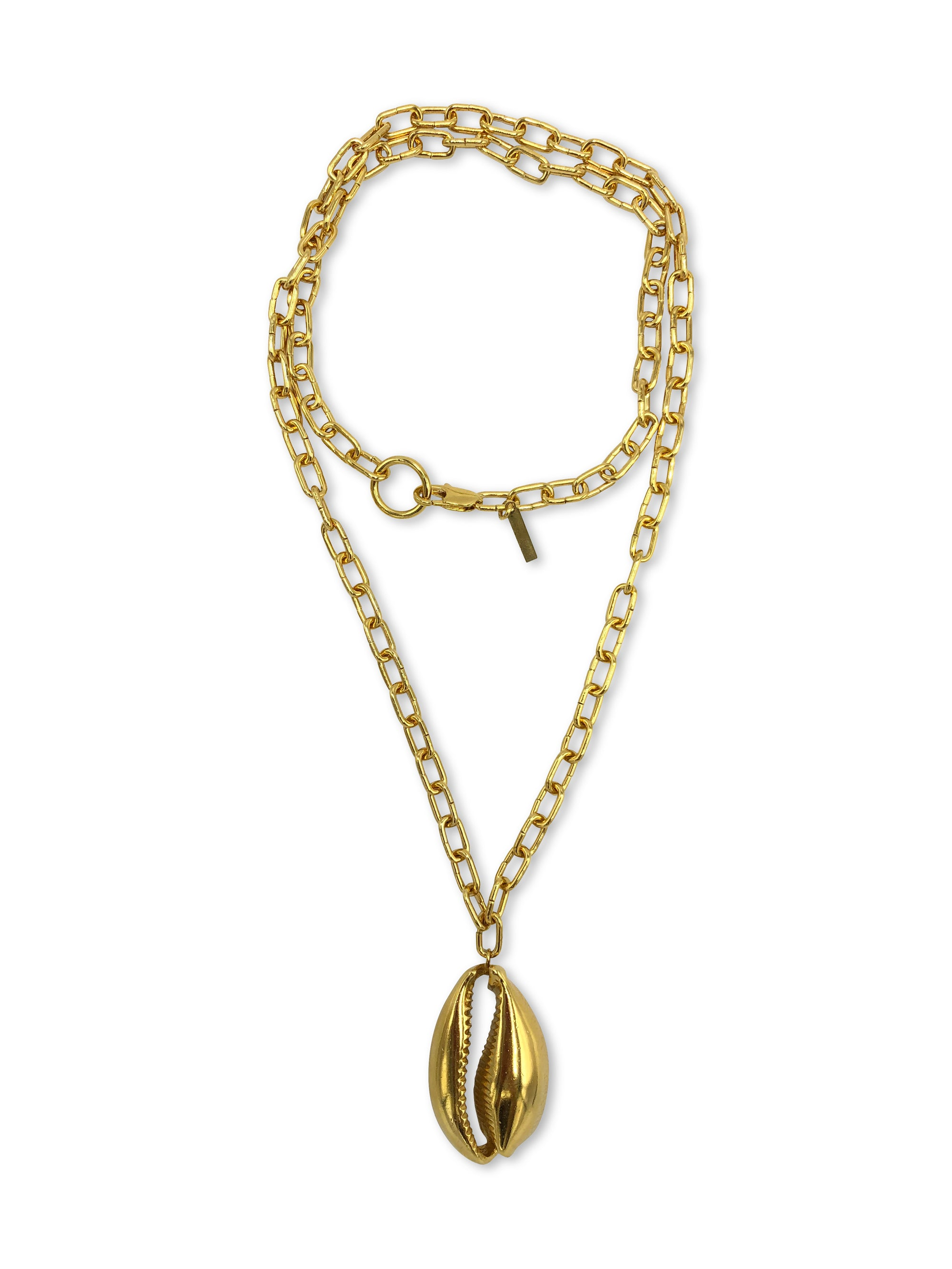 Gold Bel Mare Cowrie Seashell Pendant Charm Chain Necklace-Necklaces-JAREDJAMIN Jewelry Online-JARED JAMIN
