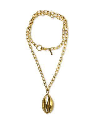 Gold Bel Mare Cowrie Seashell Pendant Charm Chain Necklace-Necklaces-Jared Jamin Online-JARED JAMIN