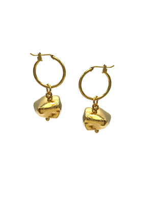 Gold Kahlo Hoop Click-Top Earrings (xs)-Earrings-JAREDJAMIN Jewelry Online-JARED JAMIN