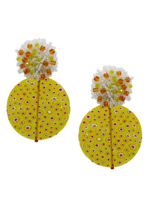 Millefiori Yellow Clip Earrings-Earrings-Jared Jamin Online-JARED JAMIN