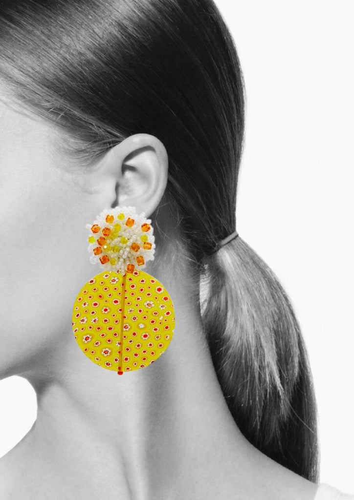 Millefiori Yellow Clip Earrings
